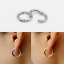 thumbnail 6 - 1 Pair Surgical Steel Hinged Clip Hoop Ring Earring Large Round Sleeper