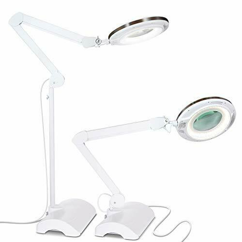 Dimmable LED Magnifying Desk & Floor Light Lamp w  Adjustable Stand & Swivel Arm