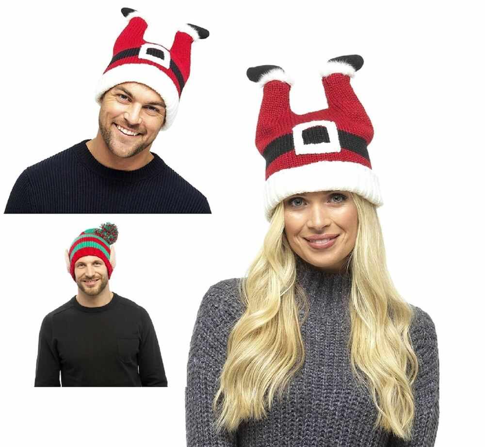 Adultes Hommes Femmes Adultes Hommes Femmes Tricot Noël Amusant Chapeaux Père Noël, Noël Elf