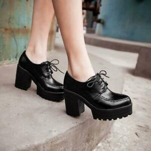 Womens chunky heel platform lace-up punk goth creeper ankle boots oxfords shoes