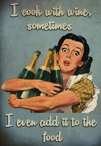FV7-Vintage-Style-Wine-Women-Food-Cooking-Alcohol-Funny-Poster-Print-A2-A3-A4