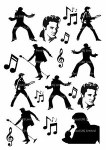 Elvis-Presley-60-039-s-silhouettes-icing-cupcake-cake-toppers-decorations-edible