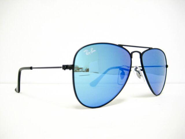 557ca507c2 Sunglasses Ray Ban Junior RB 9506s 201 55 Kid Black Aviator Blue Mirrored