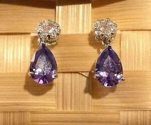 White-Gold-Pear-Drop-Dangle-Earrings-Purple-Amethyst-Sim-Diamond-BOXED-Plum-UK