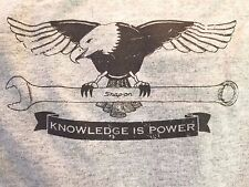 X3 SNAP ON-X Lg NEW Gray Tee Shirts Sealed w/Tags KNOWLEDGE IS POWER Eagle FR SH