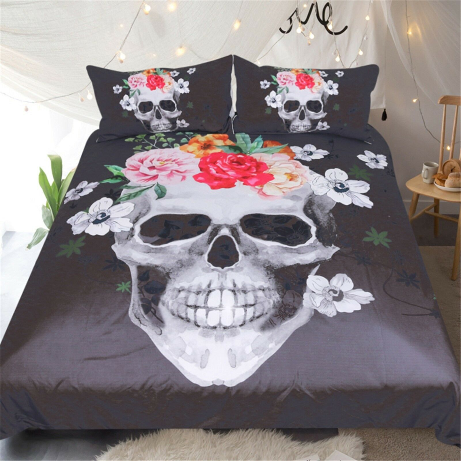 3D Skeleton Flower 482 Bed Pillowcases Quilt Duvet Cover Set Single Queen CA