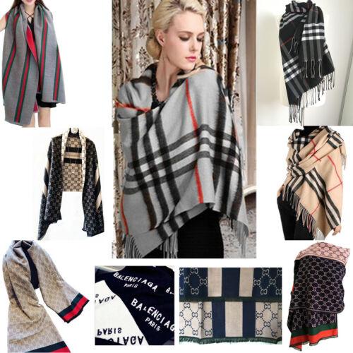 Ladies Wool Check Wrap Poncho Blanket Stripes Cashmere Scarf Cape Shawl Stole UK
