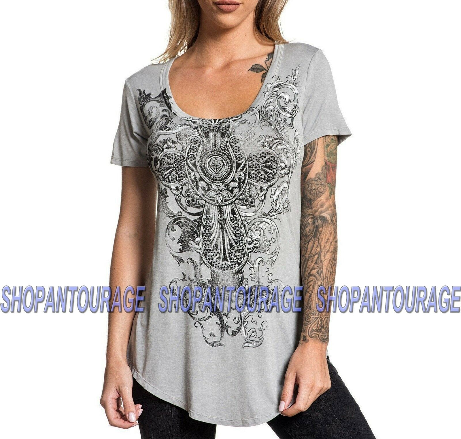 Sinful yellow Bend S4021 New Short Sleeve Fashion T-shirt Top By Affliction