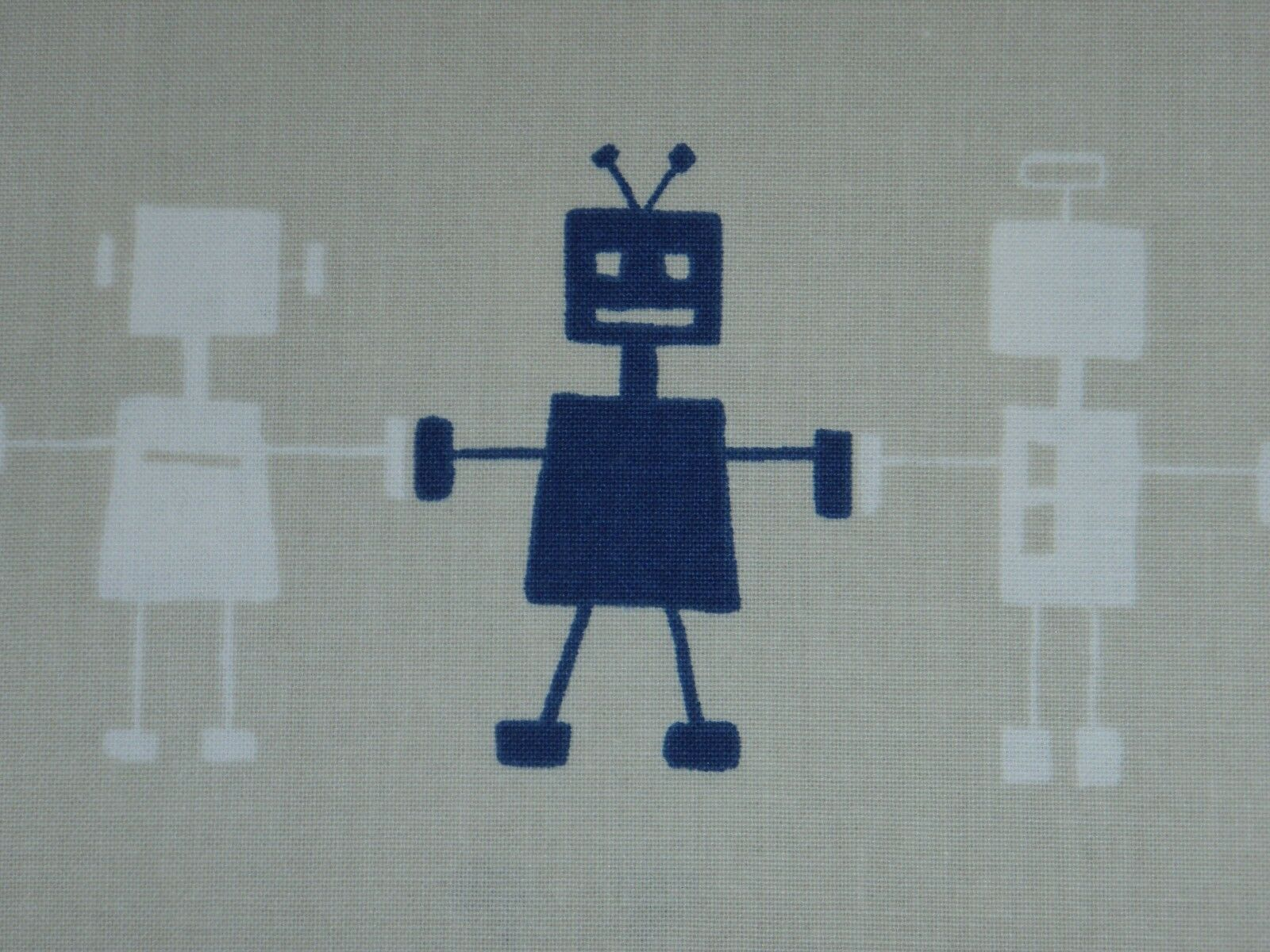 Harlequin Fabric /'Reggie Robot/' By metre In The Neutral Fabrics 100/% Cotton