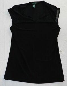 Womens shirt RALPH LAUREN size LARGE black blouse top (ba93)