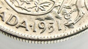 1951-Canada-50-Cents-Wide-Date-WD-Half-Dollar-Circulated-George-VI-Coin-R642