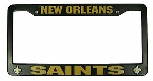 New-Orleans-Saints-BLACK-Plastic-License-Plate-Tag-Frame-Cover-Football
