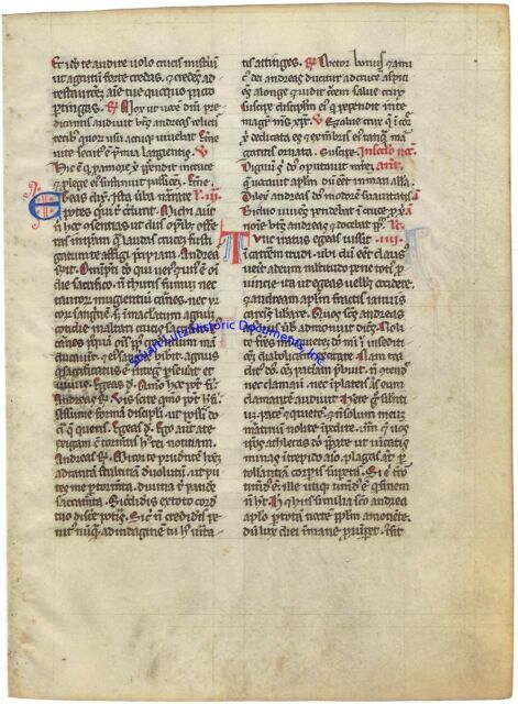 Medieval Catholic Breviary page - colorful Latin manuscript on thin parchment