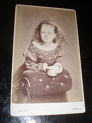 Cdv old photograph girl by W Vick at Ipswich 1870s Ref 506(18)