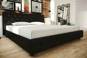 Contemporary Black Leather King Size Bed Frame W Tufted Headboard