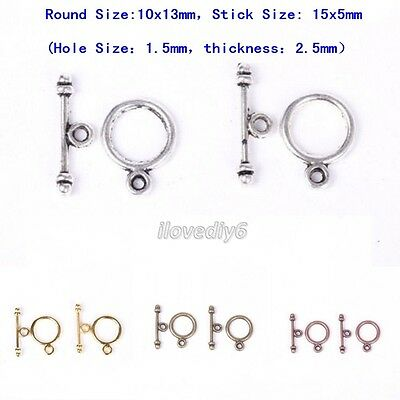 30Sets Gold/Silver/Bronze/Copper Tone Round Toggle Clasps Hooks Connectors