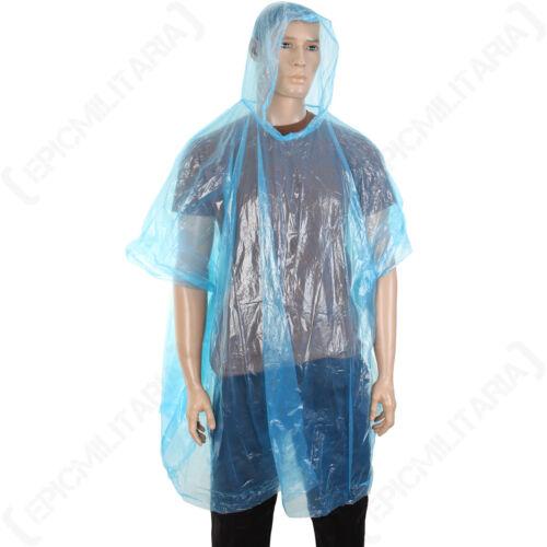 fesitival pluie temps humide Léger Bleu à capuche poncho imperméable d/'urgence
