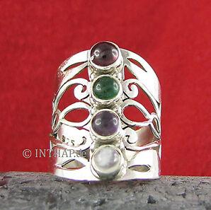 Ring 925 Sterling Silber - Silberring mit Granat Amethyst Achat Regenbogenstein