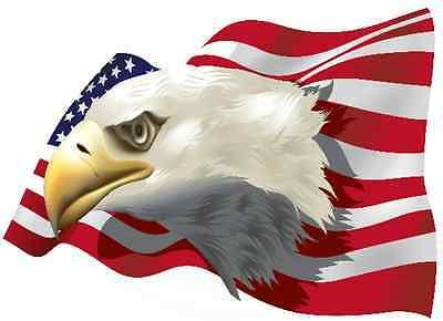 PREMIUM Aufkleber Adler auf USA Fahne Flagge Autoaufkleber Auto Sticker 21x15 cm