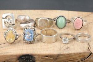 Silber-Konvolut-Ring-Konvolut-10-Stueck-57-91g-Vintage-Konvolut-Blautopas-Jade