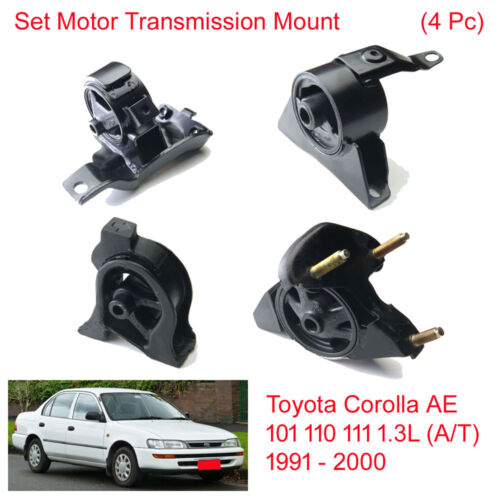 Set Motor Trans Mount For Toyota Corolla AE 101 110 111 1.3L AT 1991 2000