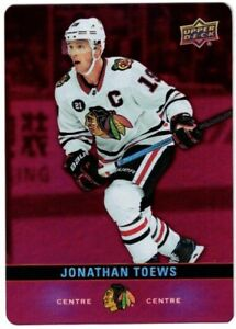 2019-20-Tim-Hortons-UD-Jonathan-Toews-Red-Parallel-Die-Cut-DC-9-Hockey-Card