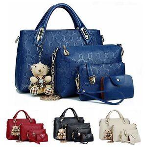 UK Ladies Women Satchel Leather 4 PCS/Set Handbag Shoulder Bag ...