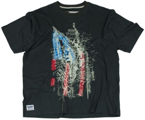 Mens Big Size Designer Vintage USA Flag Skull Tee Shirt Charcoal 3XL 4XL 5XL 6XL