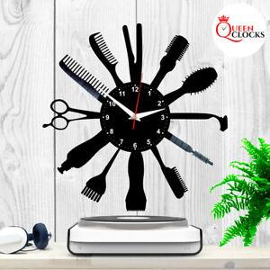 Image Is Loading Barber Clock Hairdresser Salon Vinyl Record Wall