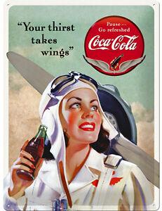 Coca-Cola-Merchandising-Schild-Werbung-Poster-Pilot-Flugzeug-Motiv-Deko-436