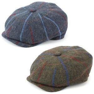 5 Taglie Brown Herringbone in tweed lana Berretto Piatto