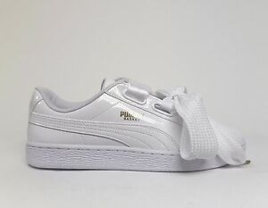 afe1409aff9b PUMA Women s BASKET HEART Patent Leather Shoes White White 363073-02 ...