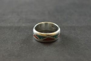 100% Vrai Vintage Sterling Band Ring W Mosaïque Corail & Turquoise Inlay - 6.7 G-afficher Le Titre D'origine