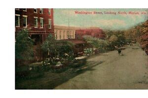 Postcard-Marion-Alabama-Washington-Street-Looking-North-J-C-Mickleboro-Pub