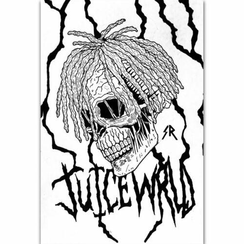 W854 Juice WRLD Rap Music Singer Star Cover Skull Pop Poster Wall Art
