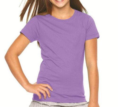 Nouveau femmes filles plain t shirt à encolure ras-du-cou summer t-shirt 100/% coton uk 8-22
