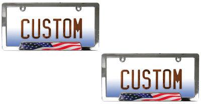 2 Chrome Elegant Metal Custom License Plate Tag Frames for Auto-Car-Truck-SUV