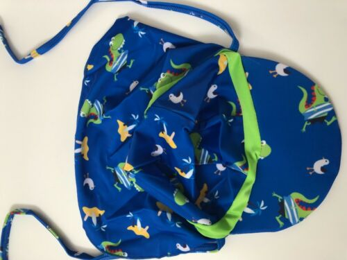 Boys Girls Children Kids Beach Travel Neck Cover Sun Swim Hat Cap tie up 1-6yrs