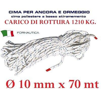 CIMA PER ANCORA E ORMEGGIO POLIESTERE DA BARCA NAUTICA DIAMETRO MM 10 X 70 MT.