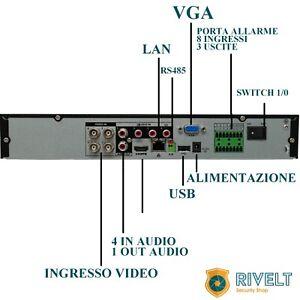 DVR 4 CH CANALI IBRIDO ULTRA HD P2P GESTIONE DA REMOTO 4 MEGA PIXEL EYEMOTION