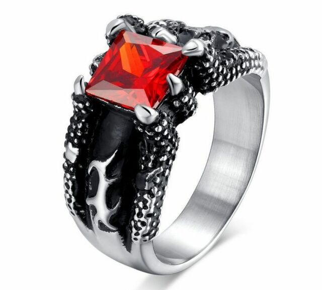 Men's Titanium Stainless Steel 316L Ruby CZ Dragon Claw Cast Biker Ring and Band