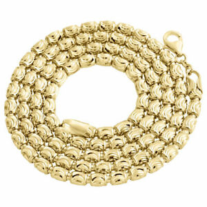 Solid-10K-Yellow-Gold-Diamond-Cut-Barrel-Chain-4MM-Necklace-Oval-Bead-22-30-Inch
