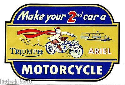 TRIUMPH & ARIEL MOTORCYCLE VINYL STICKER / DECAL WORKSHOP GARAGE GAS STATION