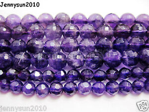 Grade-AAA-Natural-Amethyst-Gemstone-Faceted-Round-Beads-16-039-039-2mm-4mm-6mm-8mm