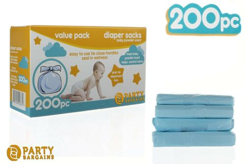 Baby Diaper Bags Disposable Nappy Sacks Close Handles Powder Scented 200 Count