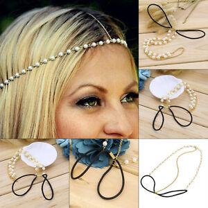 Beach Hair Wedding Simulated Pearl Beaded Crystal Headband Hair Band