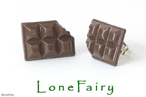 Novedad Chocolate Plateado Gemelos Anillo Y Aretes alimentos Joyas