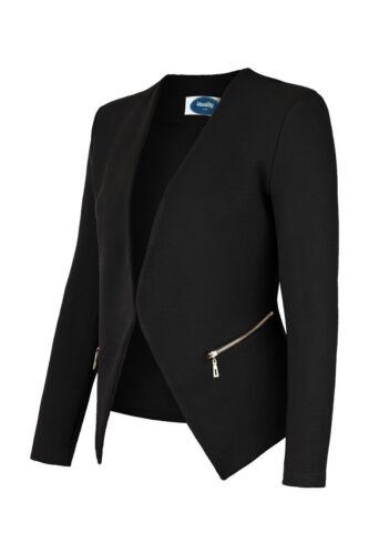 AO Damen Blazer Jacket Kurzjacke Sakko Casual Jäckchen Zipper Schwarz S 36