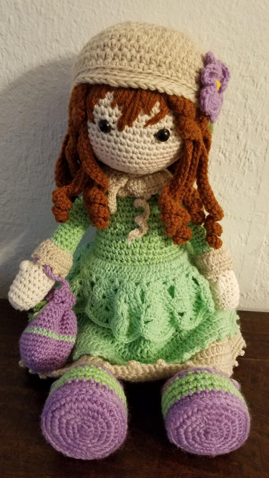 New Russian Hand Crafted Knitted Doll 15 Inch Unique Handmade Doll in Dress