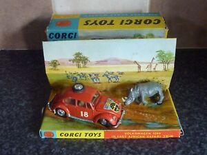 CORGI-TOYS-No-256-VOLKSWAGEN-1200-EAST-AFRICAN-SAFARI-ORIGINAL-BOX-amp-RHINO